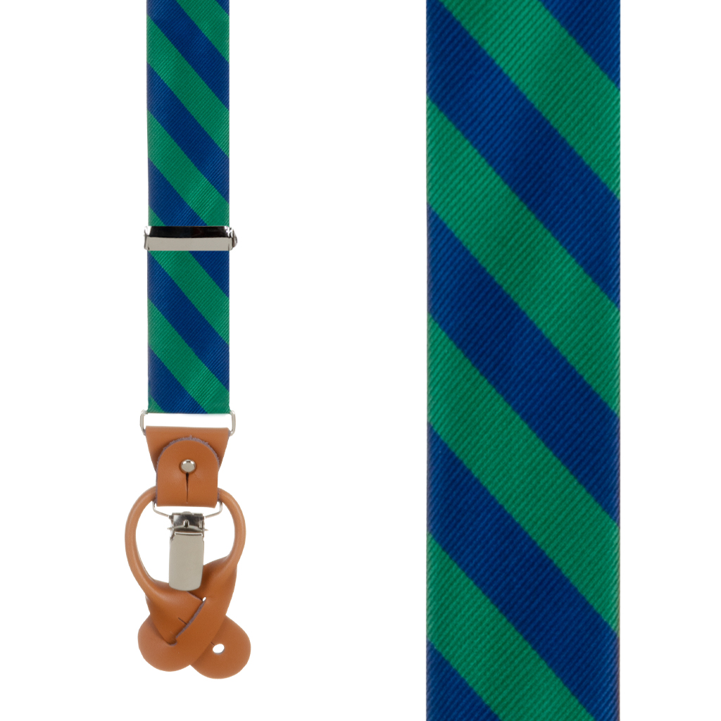 Navy & Lime Striped Suspenders - Front View