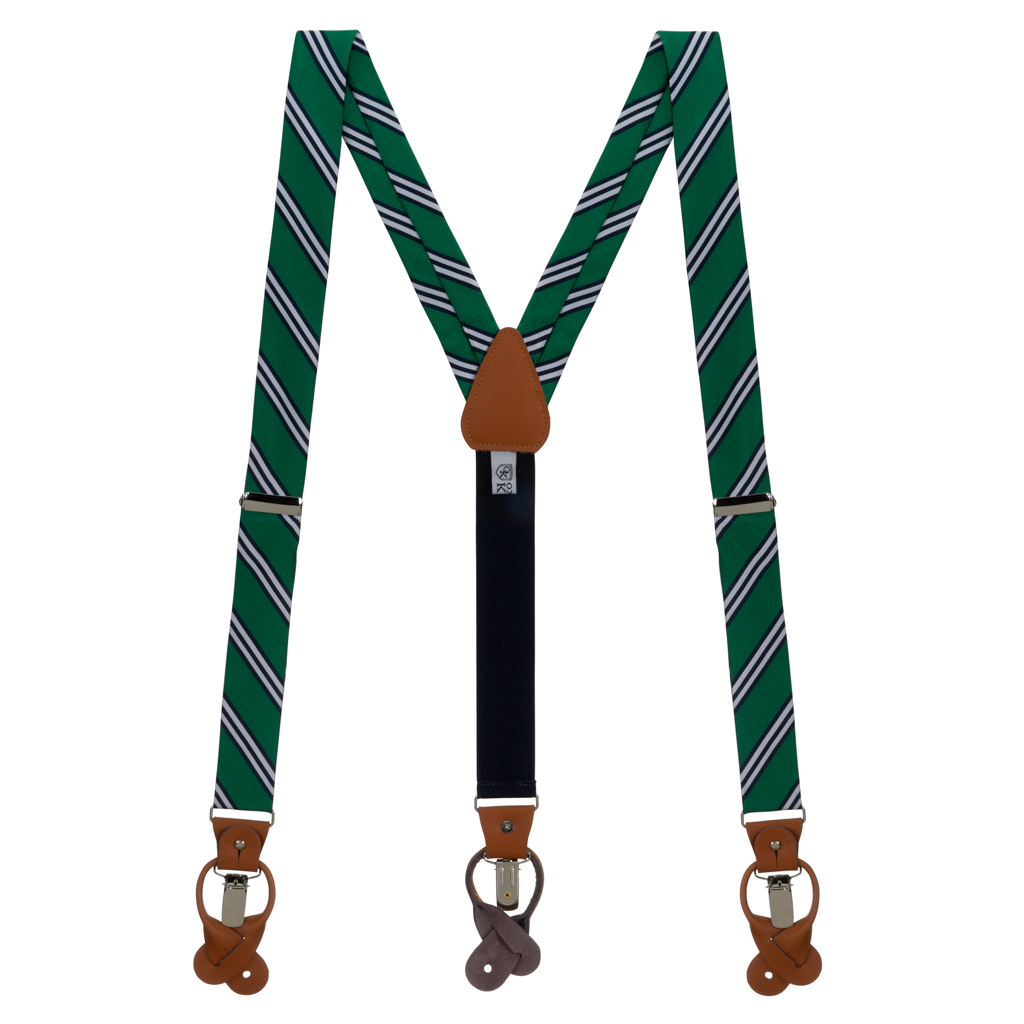 Multi-Stripe Convertible Suspenders in Navy/Lime - Full View