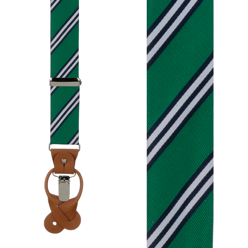 Multi-Stripe Convertible Suspenders in Navy/Lime - Front View