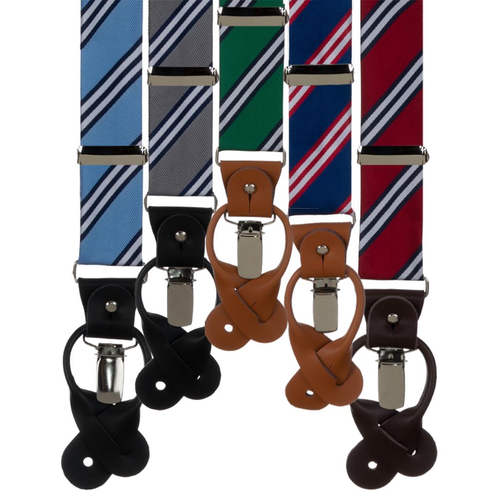 Multi-Stripe Convertible Suspenders - All Colors