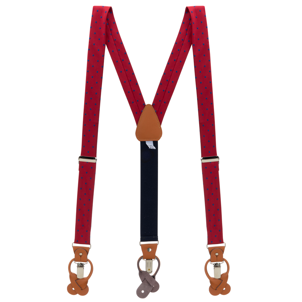 Polka Dot Convertible Suspenders in Red with Navy - Full View