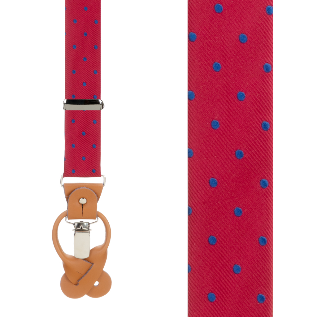 Polka Dot Convertible Suspenders in Red with Navy - Front View