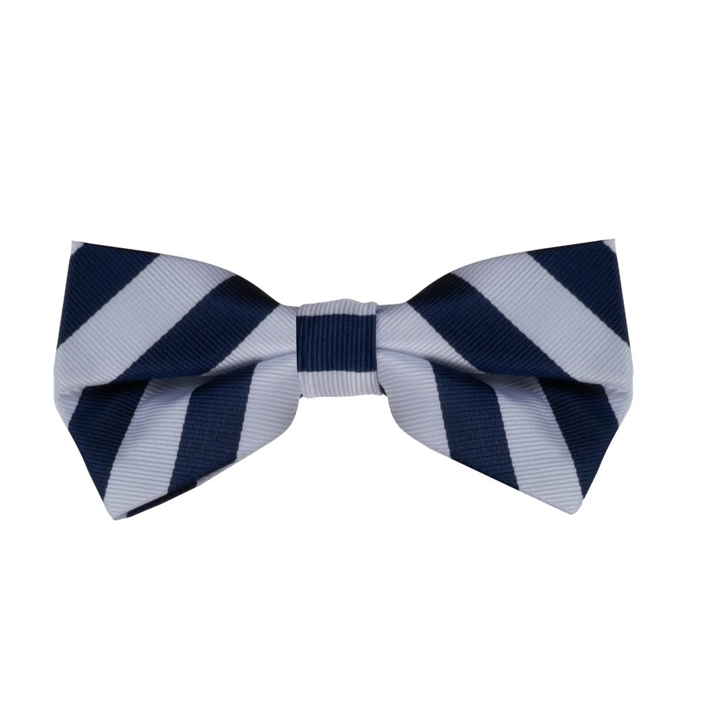 Navy & White Striped Bow Tie