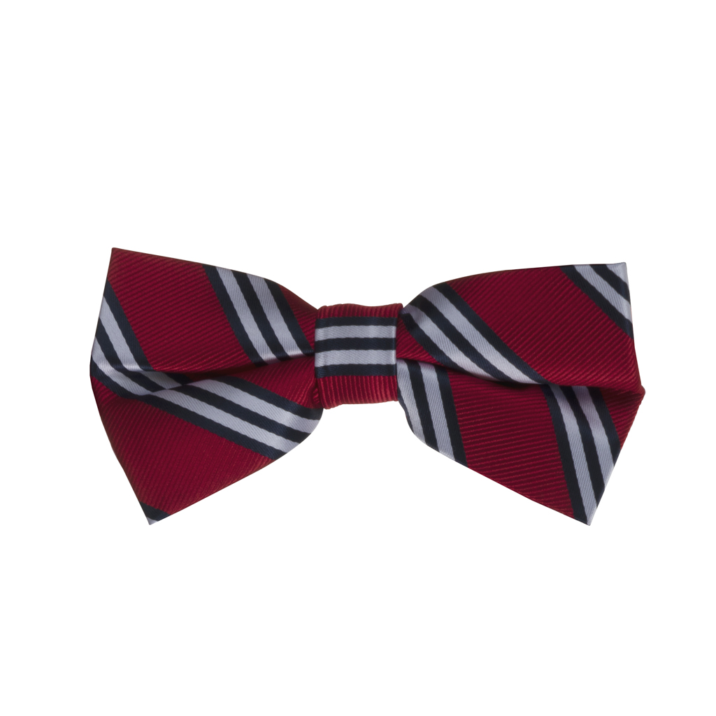Red with Navy Multi-Stripes Bow Tie