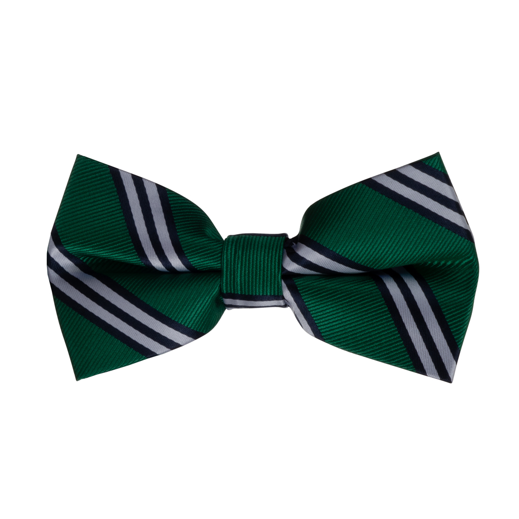 Green with Navy Multi-Stripes Bow Tie