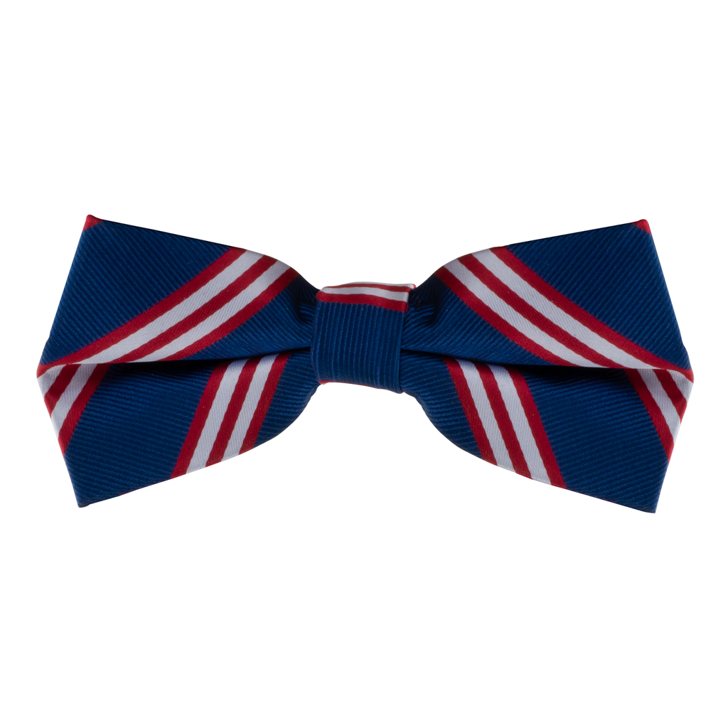 Navy with Red Multi-Stripes Bow Tie