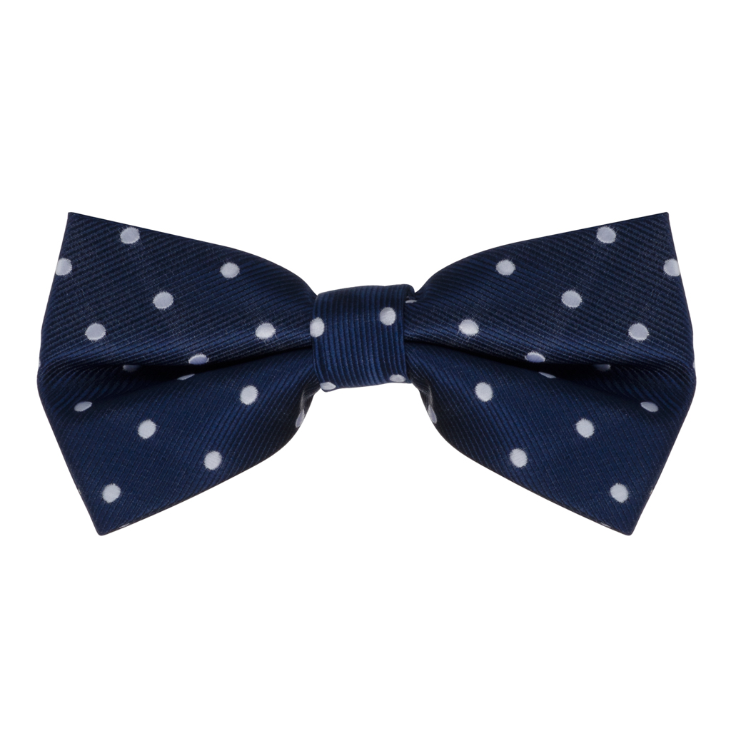 Bow Tie - Navy with White Polka Dots