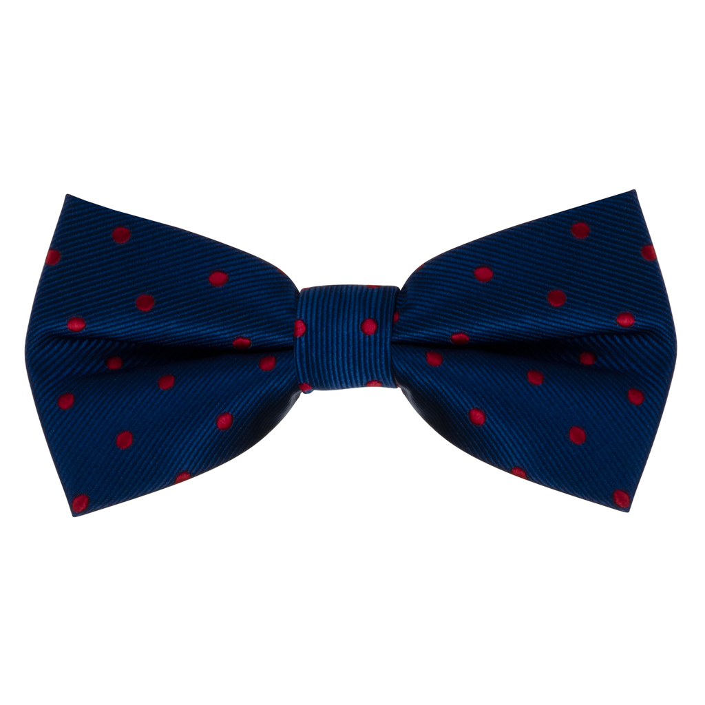 Bow Tie - Navy with Red Polka Dots