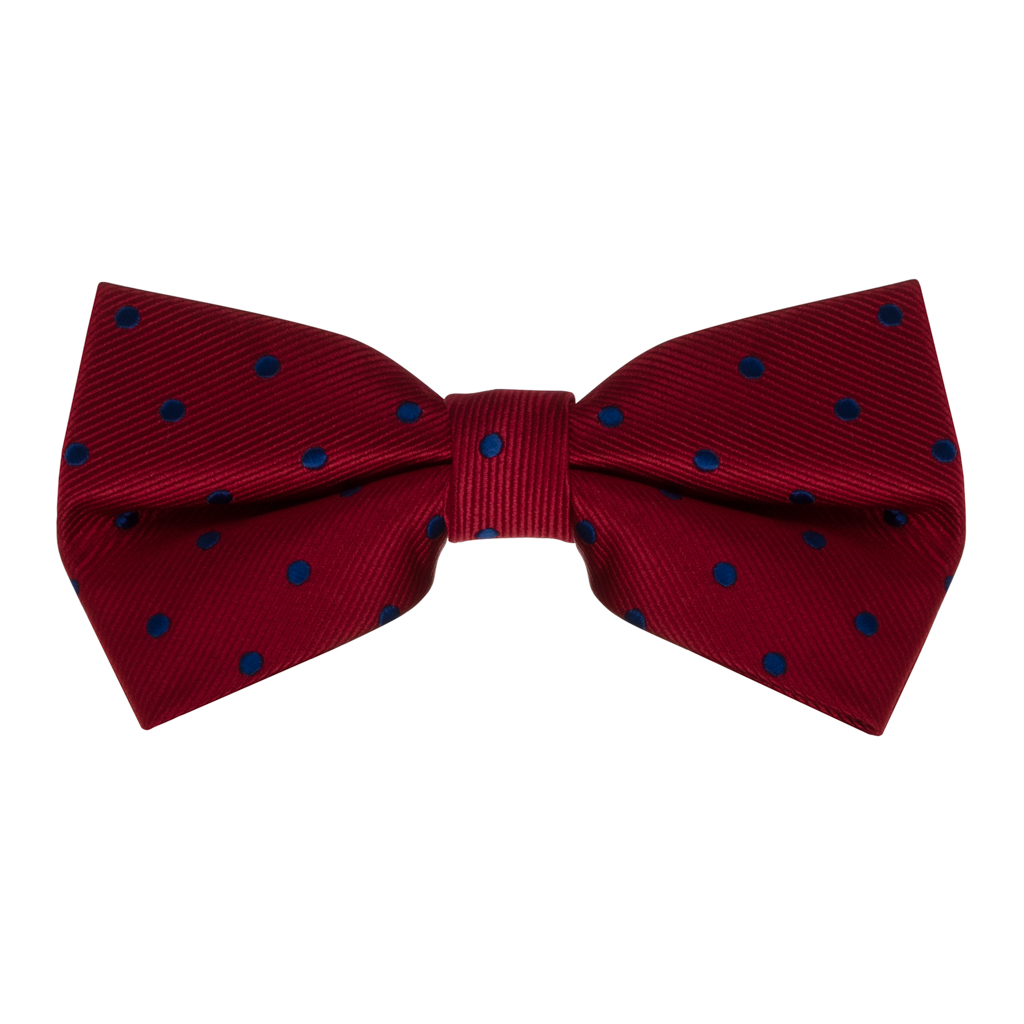 Bow Tie - Red with Navy Polka Dots