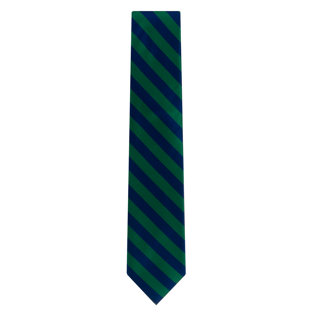 Navy & Lime Striped Necktie