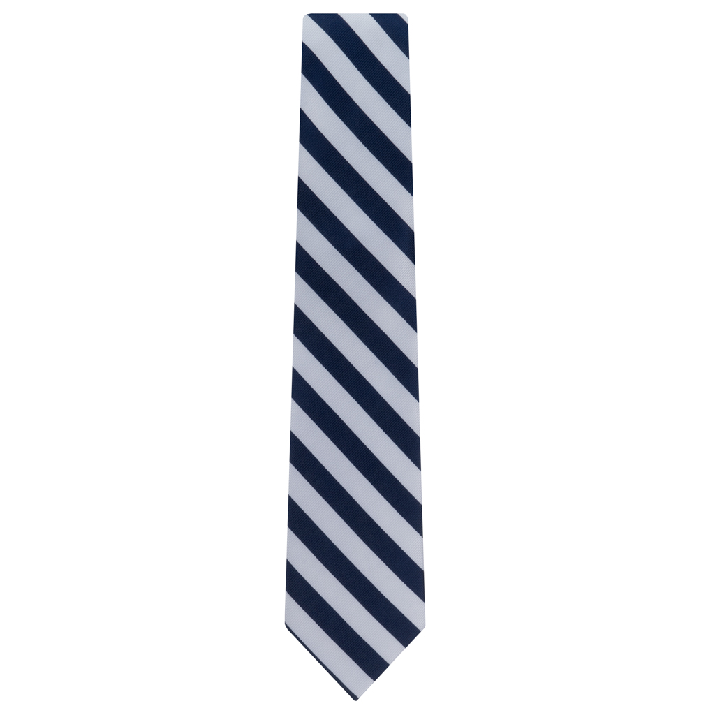Navy & White Striped Necktie