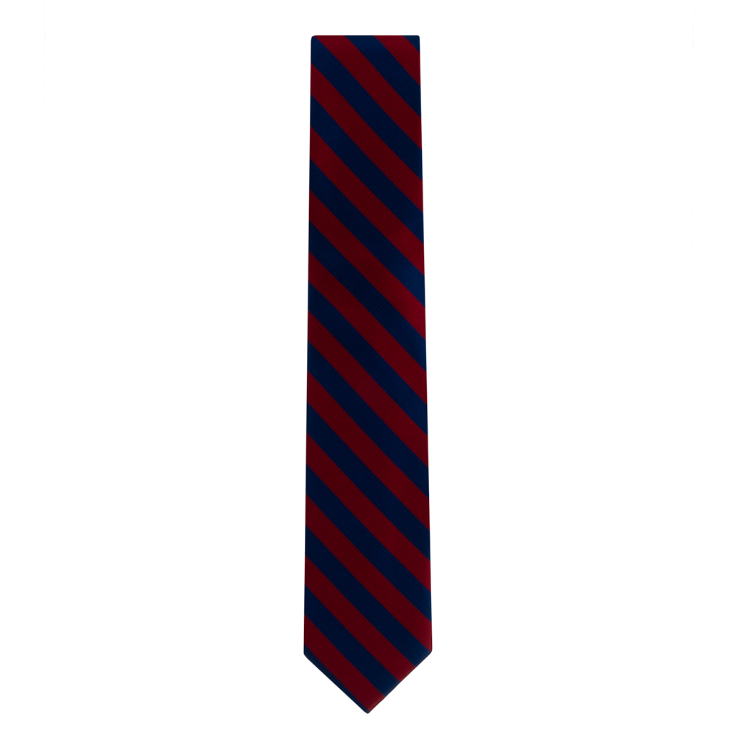 Red & Navy Striped Necktie