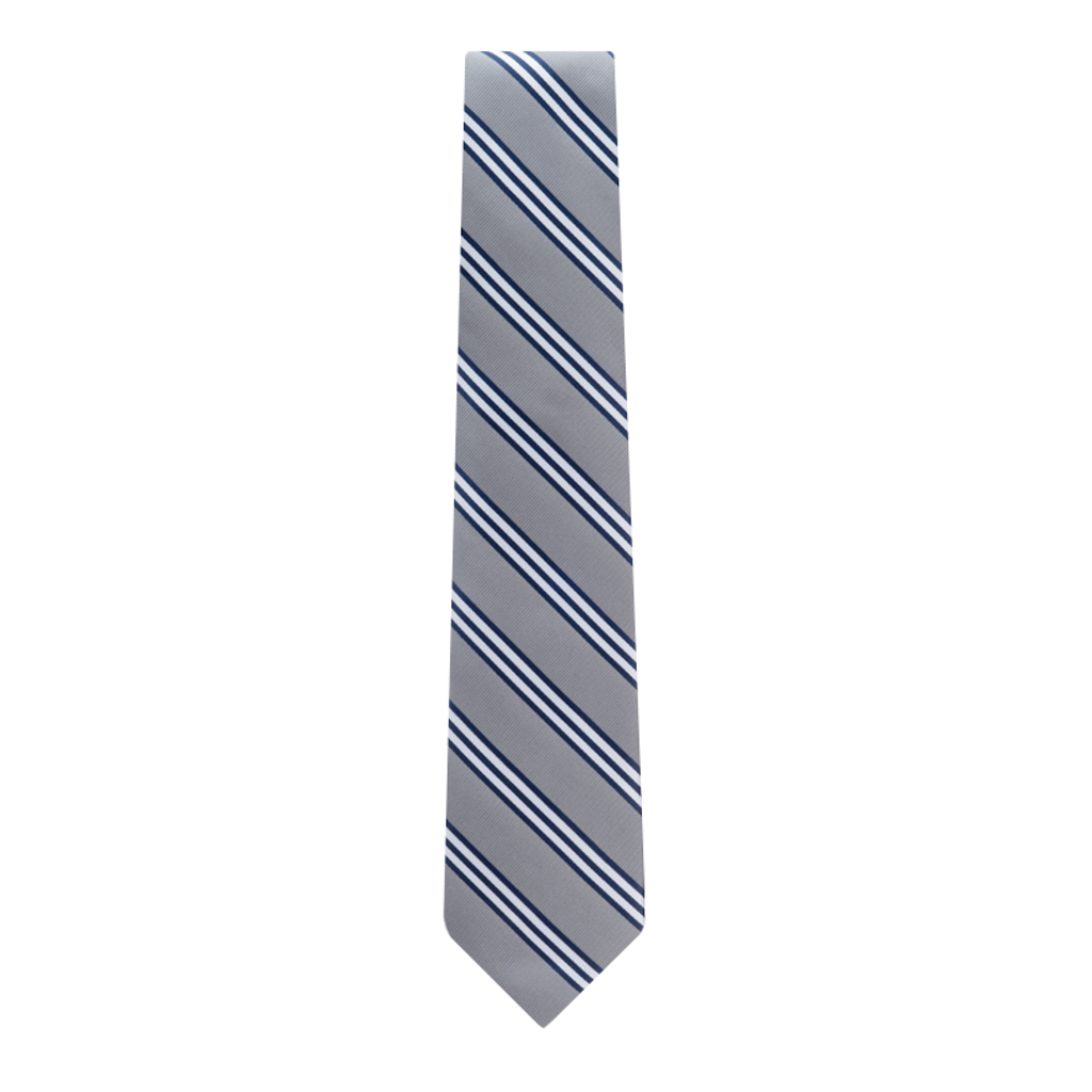 Grey Necktie with Navy & White Stripes