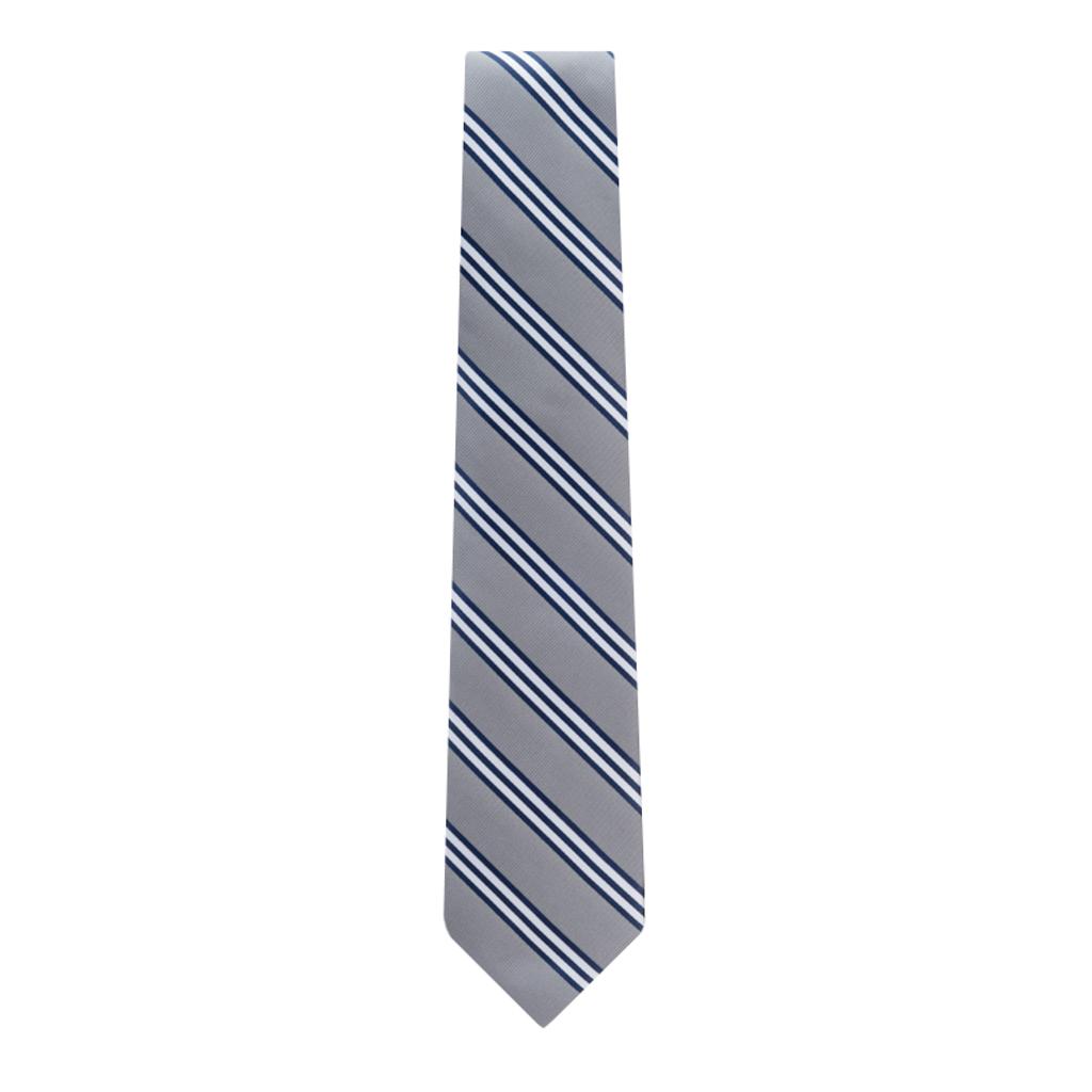 Grey Necktie with Navy & White Stripes