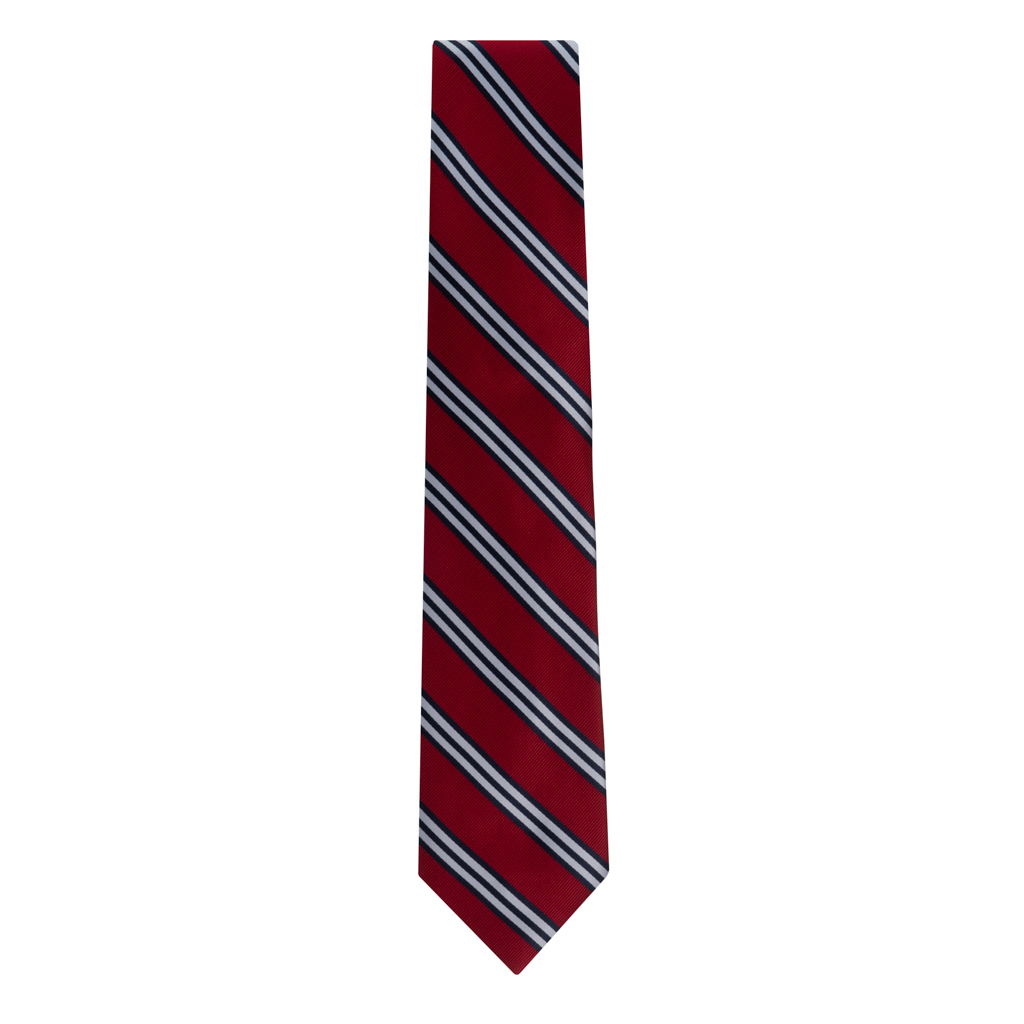 Red Necktie with Navy & White Stripes