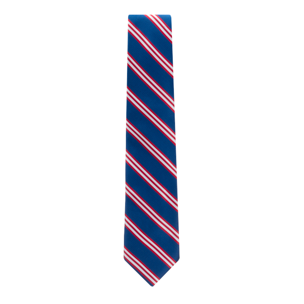 Navy Necktie with Red & White Stripes