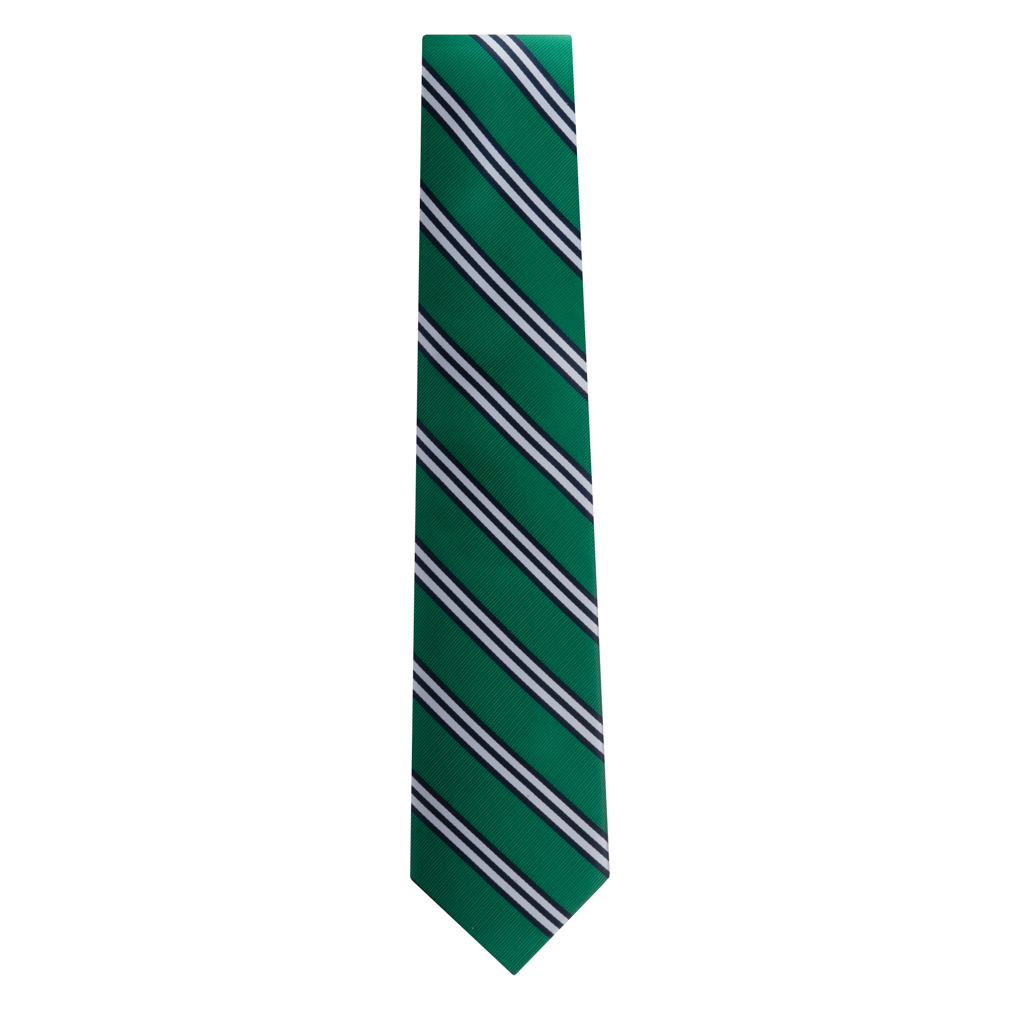 Green Necktie with Navy & White Stripes