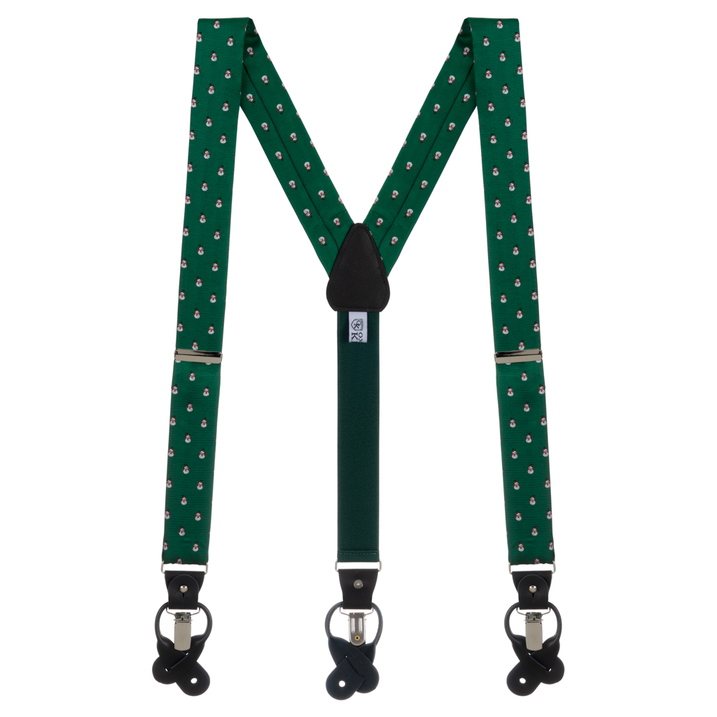 Snowmen on Green Convertible Suspenders - Full View