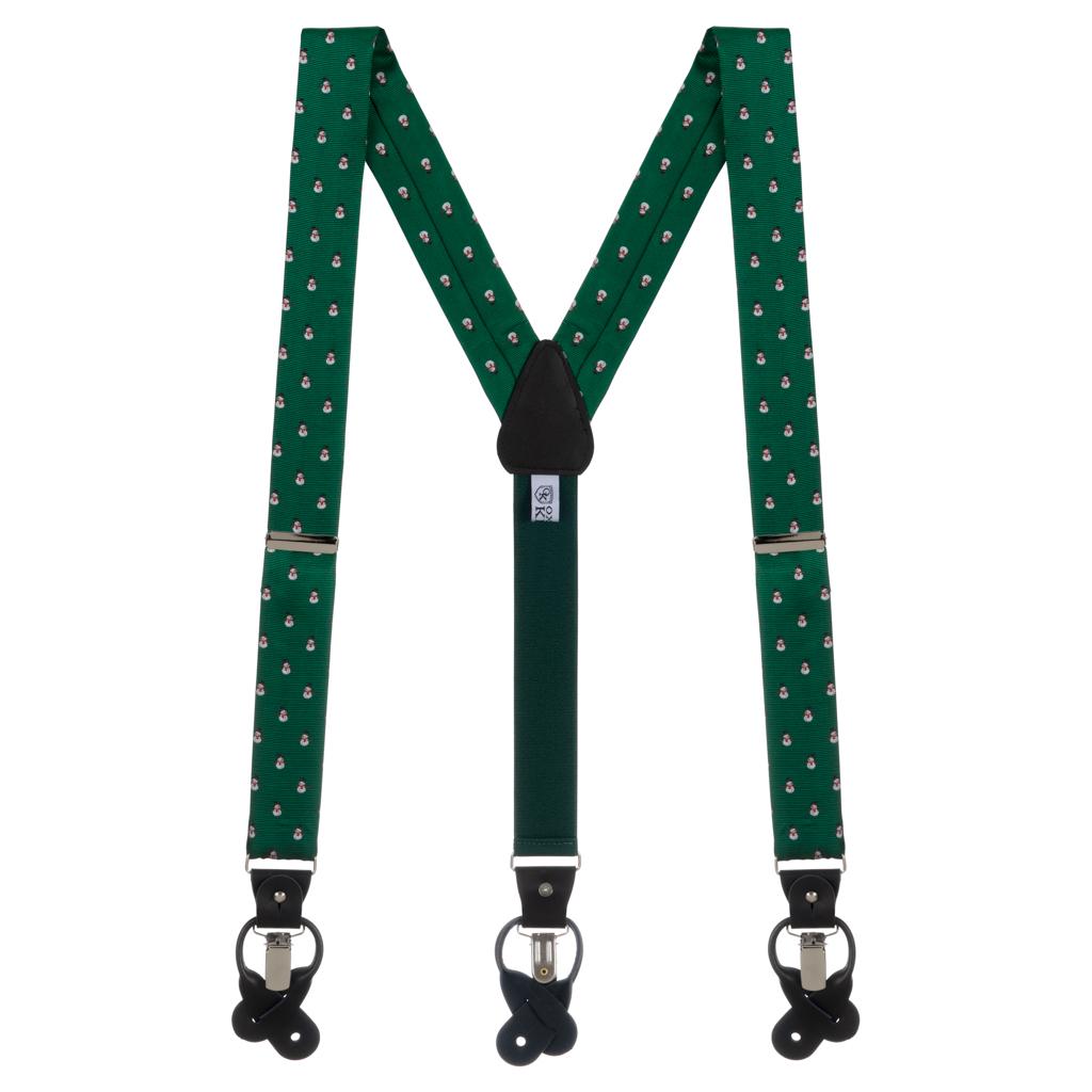 Snowmen on Green Convertible Suspenders - Full View