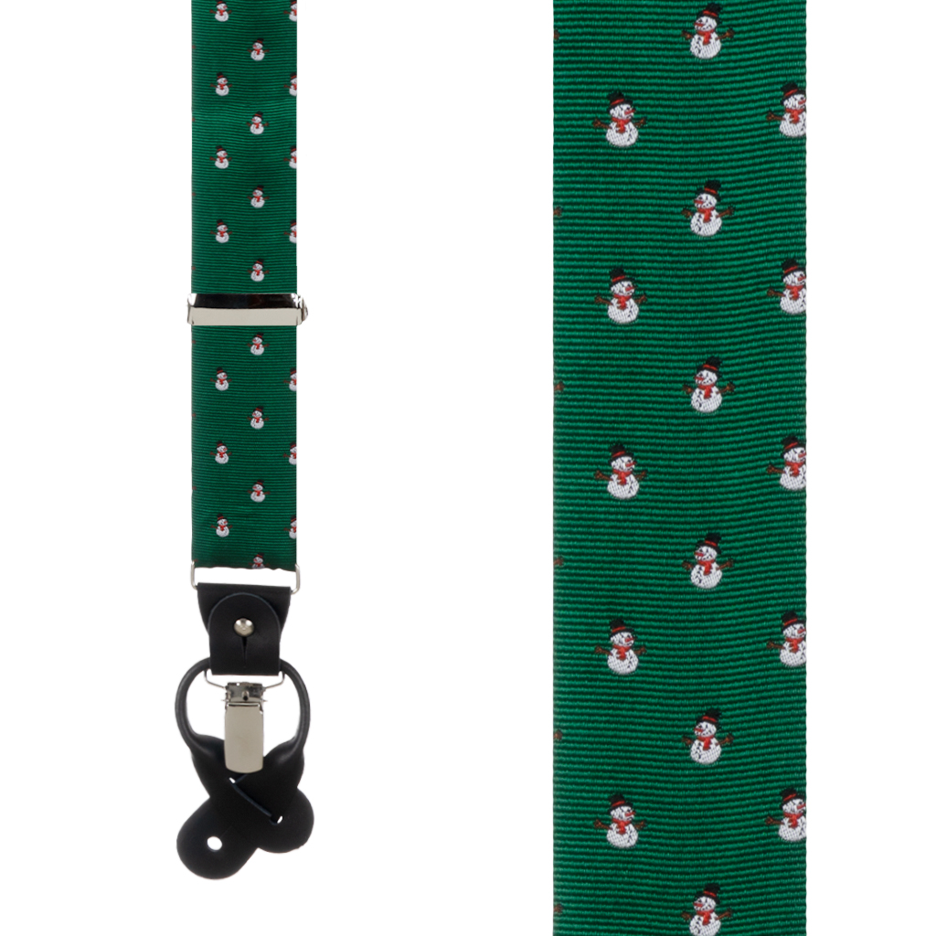 Snowmen on Green Convertible Suspenders - Front View