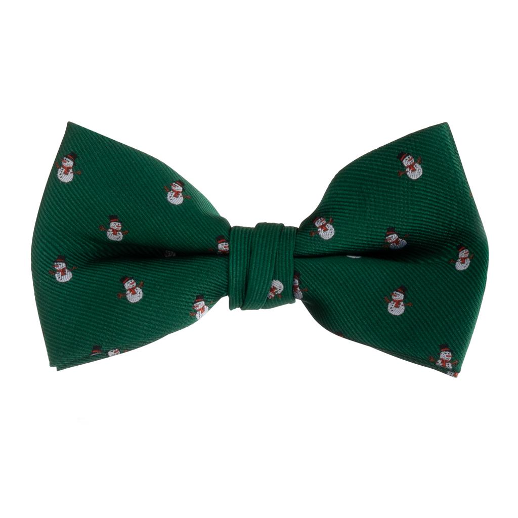 Snowmen on Green Bow Tie