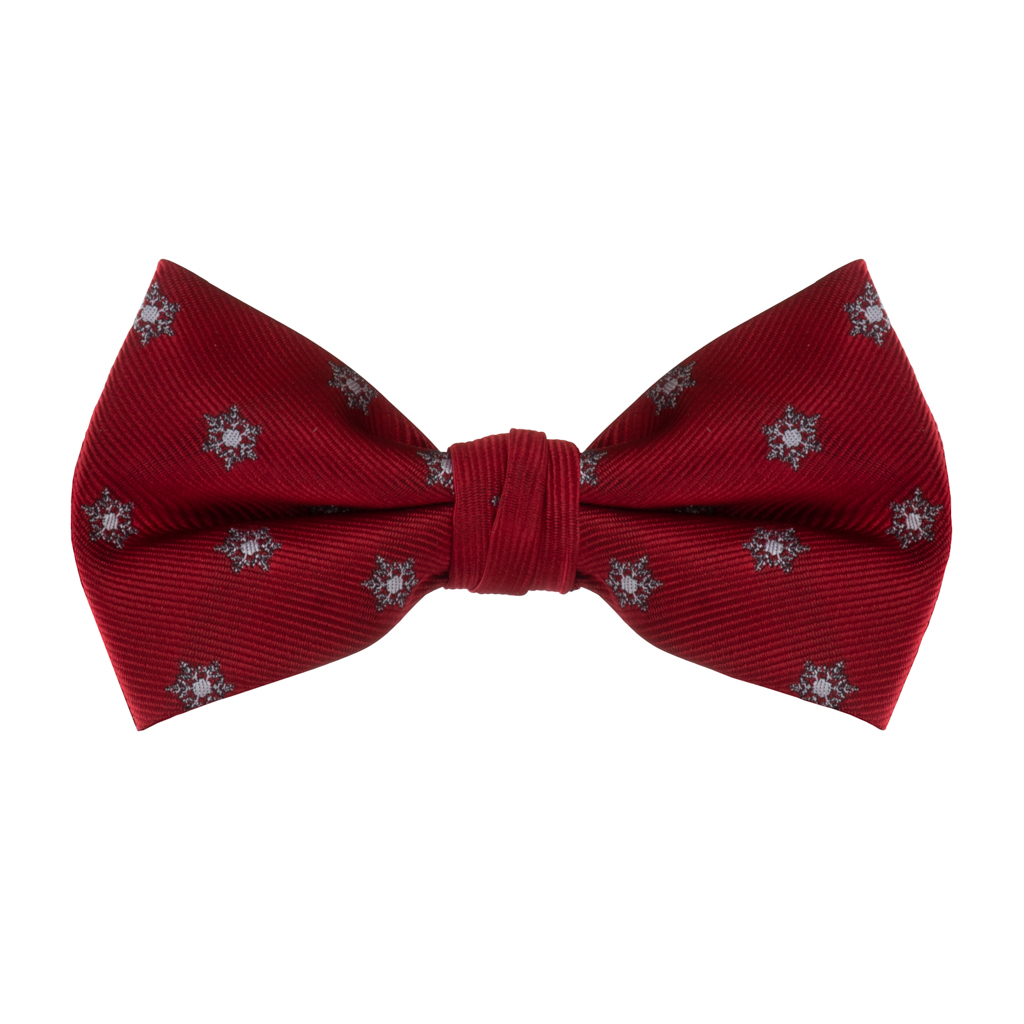 Snowflakes on Red Bow Tie