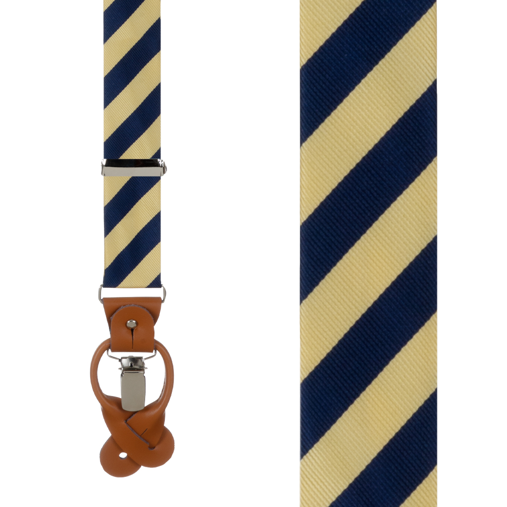 Corn & Navy Striped Suspenders - Front View