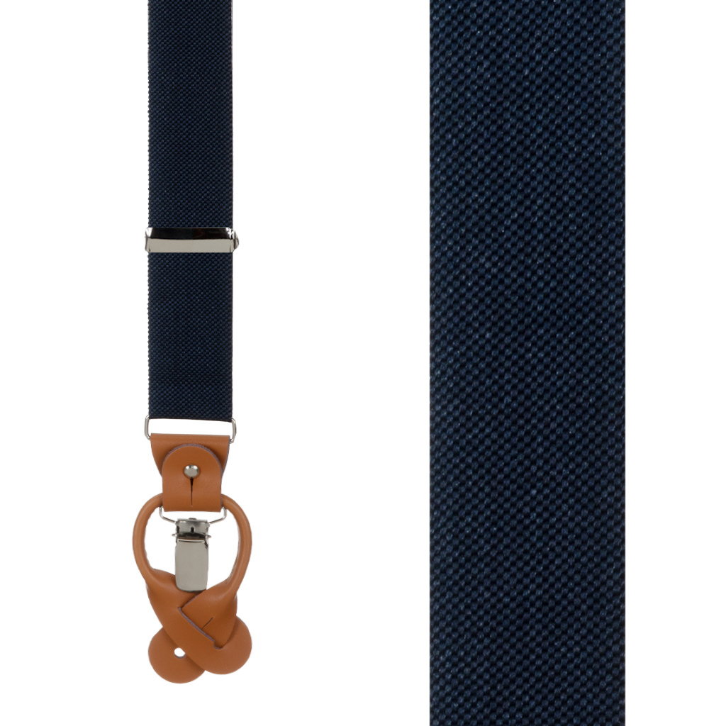 Oxford Cloth Suspenders in Navy - Front View