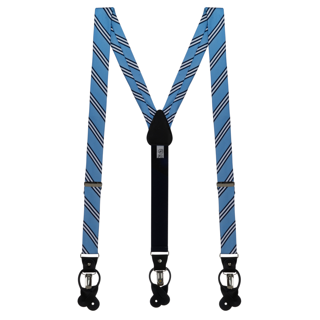 Copenhagen & Navy Multi-Stripe Suspenders - Full View