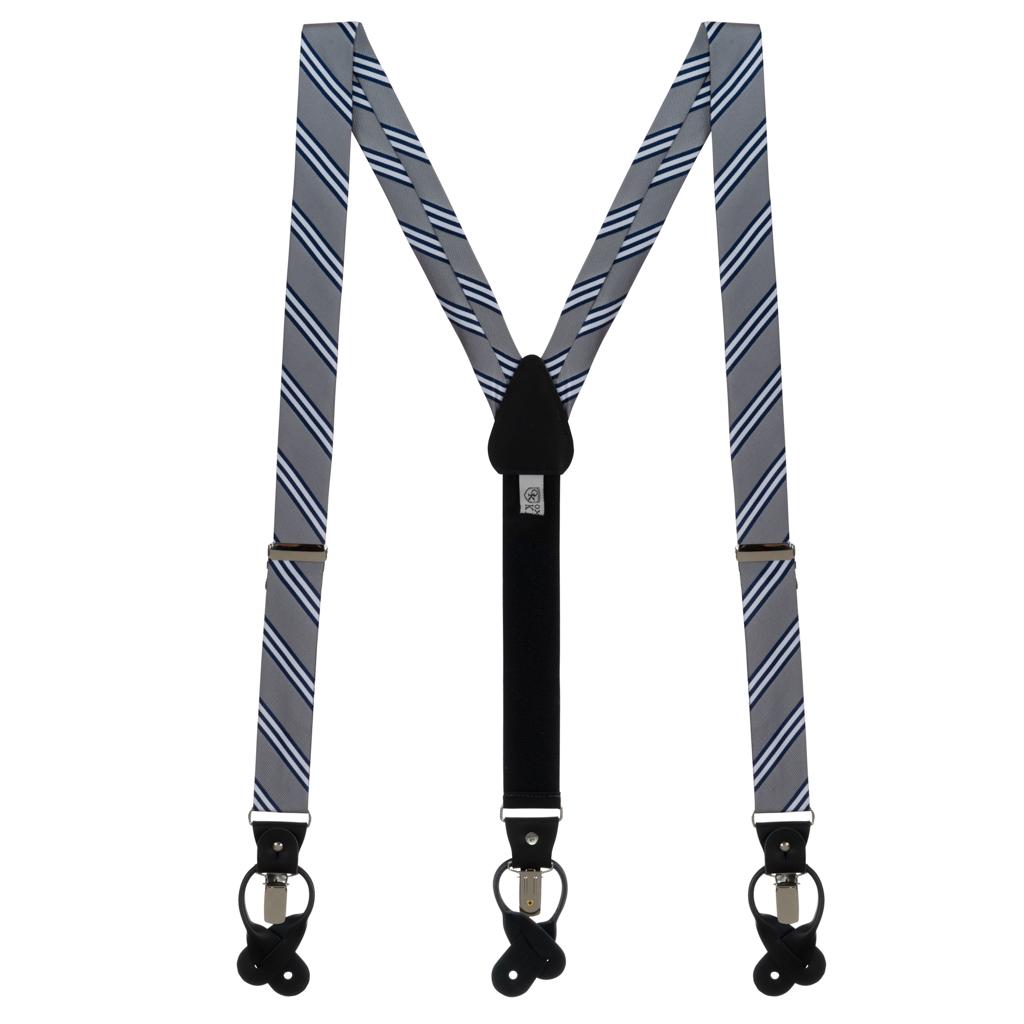 Grey & Navy Multi-Stripe Suspenders - Full View