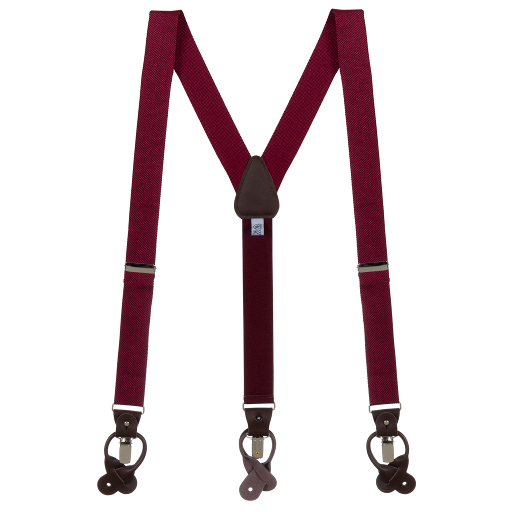 Oxford Cloth Suspenders in Burgundy - Full View