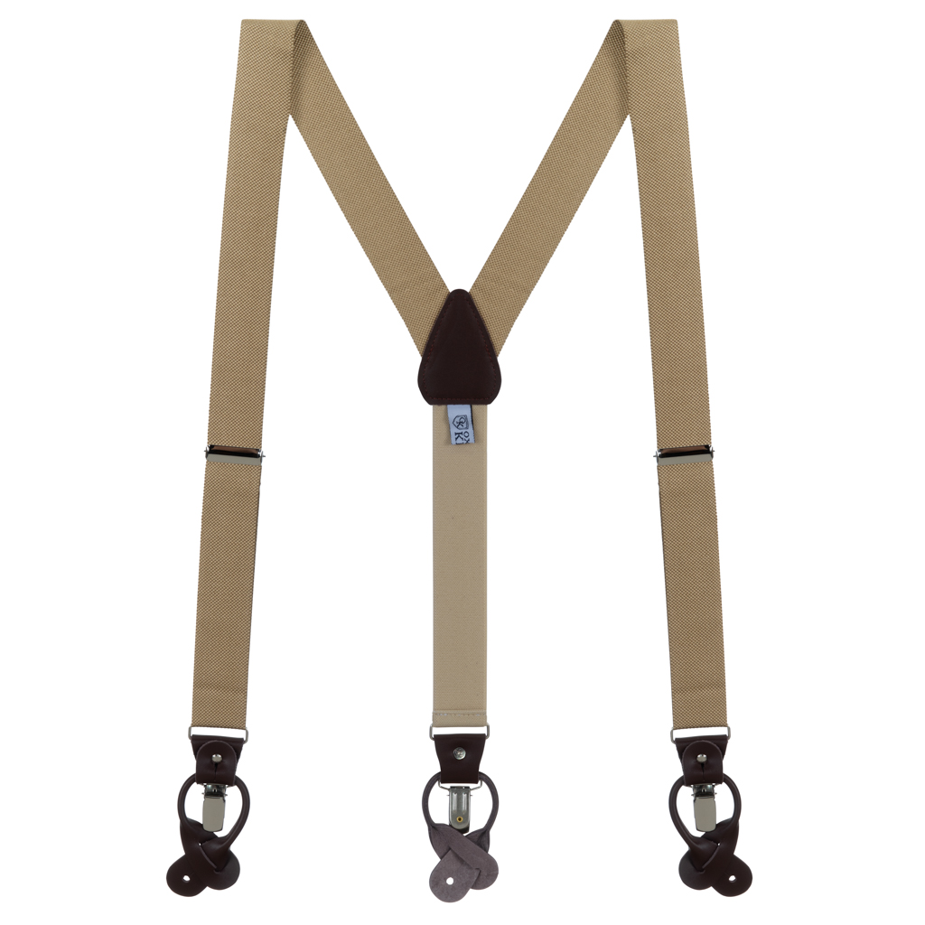 Oxford Cloth Suspenders in Khaki - Full View