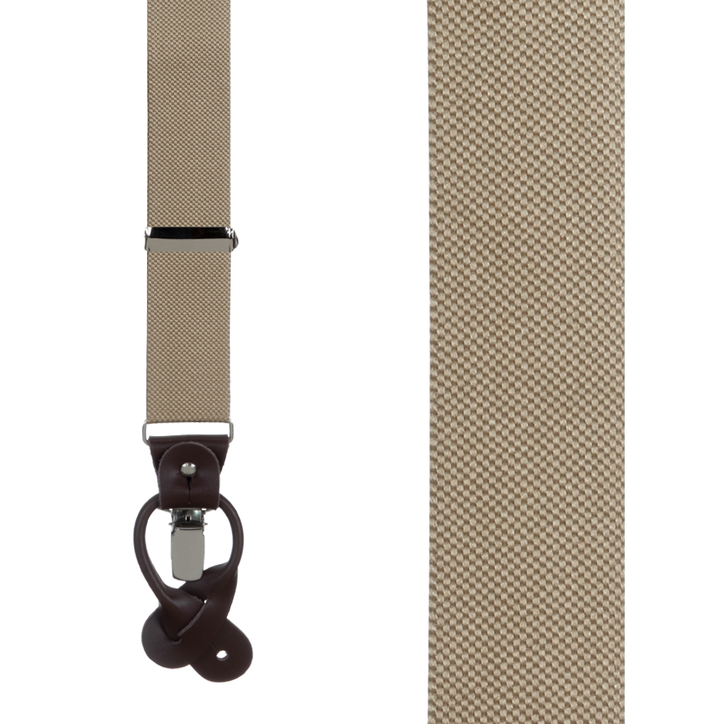 Oxford Cloth Suspenders in Khaki - Front View