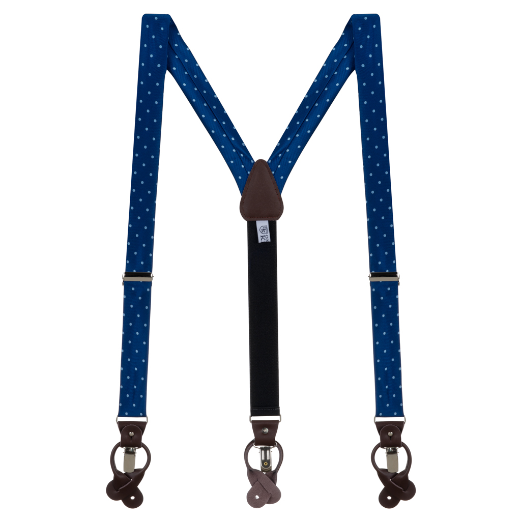 Navy & Copenhagen Polka Dot Suspenders - Full View