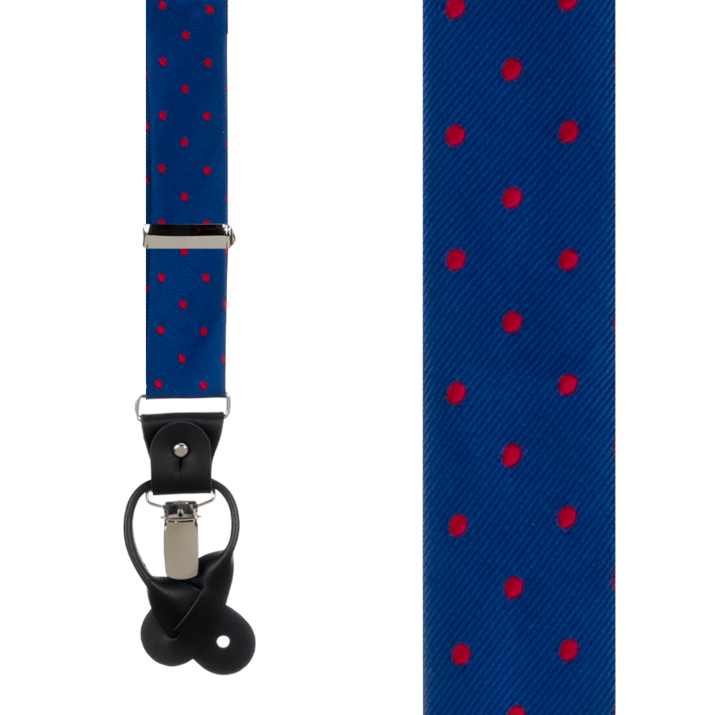 Navy & Red Polka Dot Suspenders - Front View