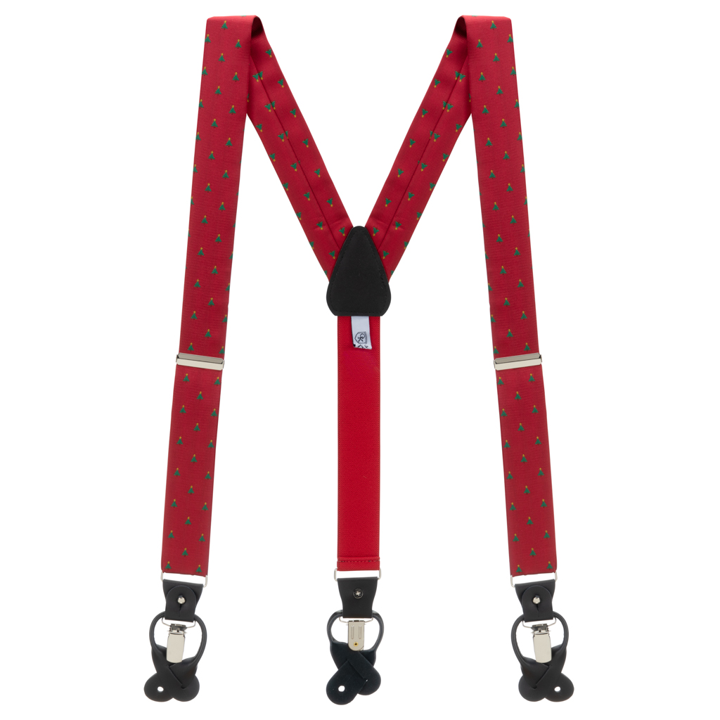 Christmas Tree on Red Suspenders - Full View