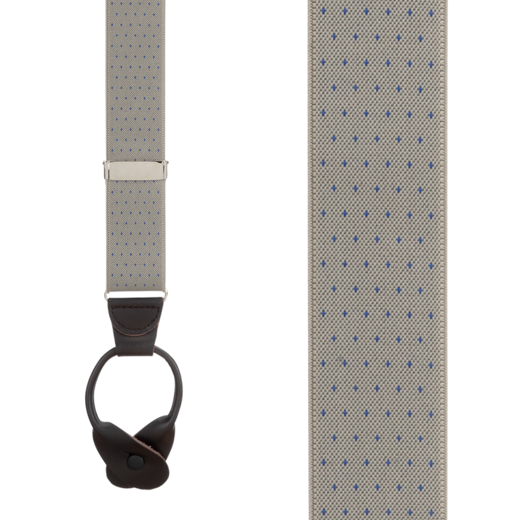 Woven Pin Dot Button Suspenders in Tan - Front View