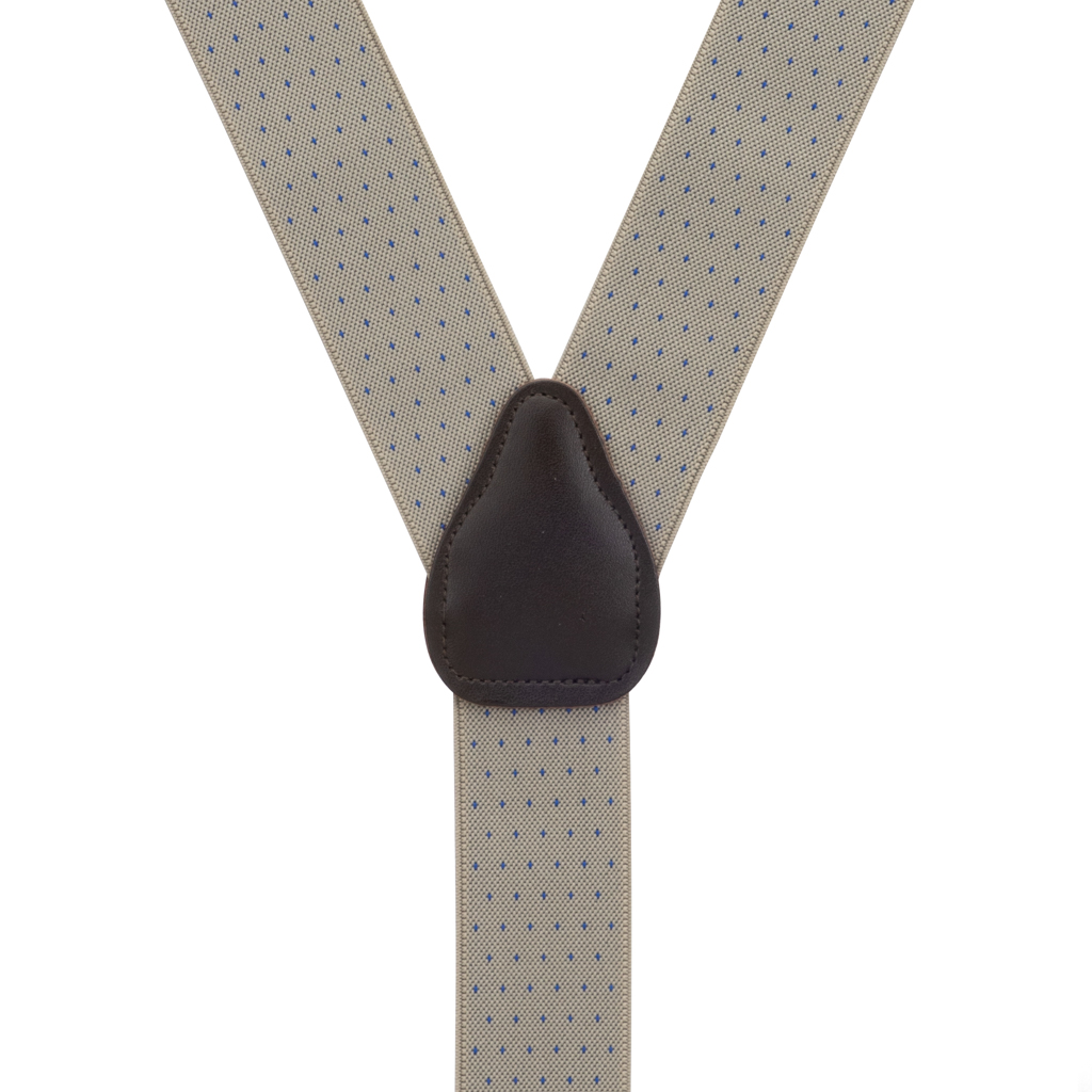 Woven Pin Dot Button Suspenders in Tan - Rear View