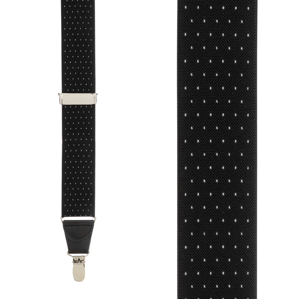 Woven Pin Dot Suspenders in Black - Front View