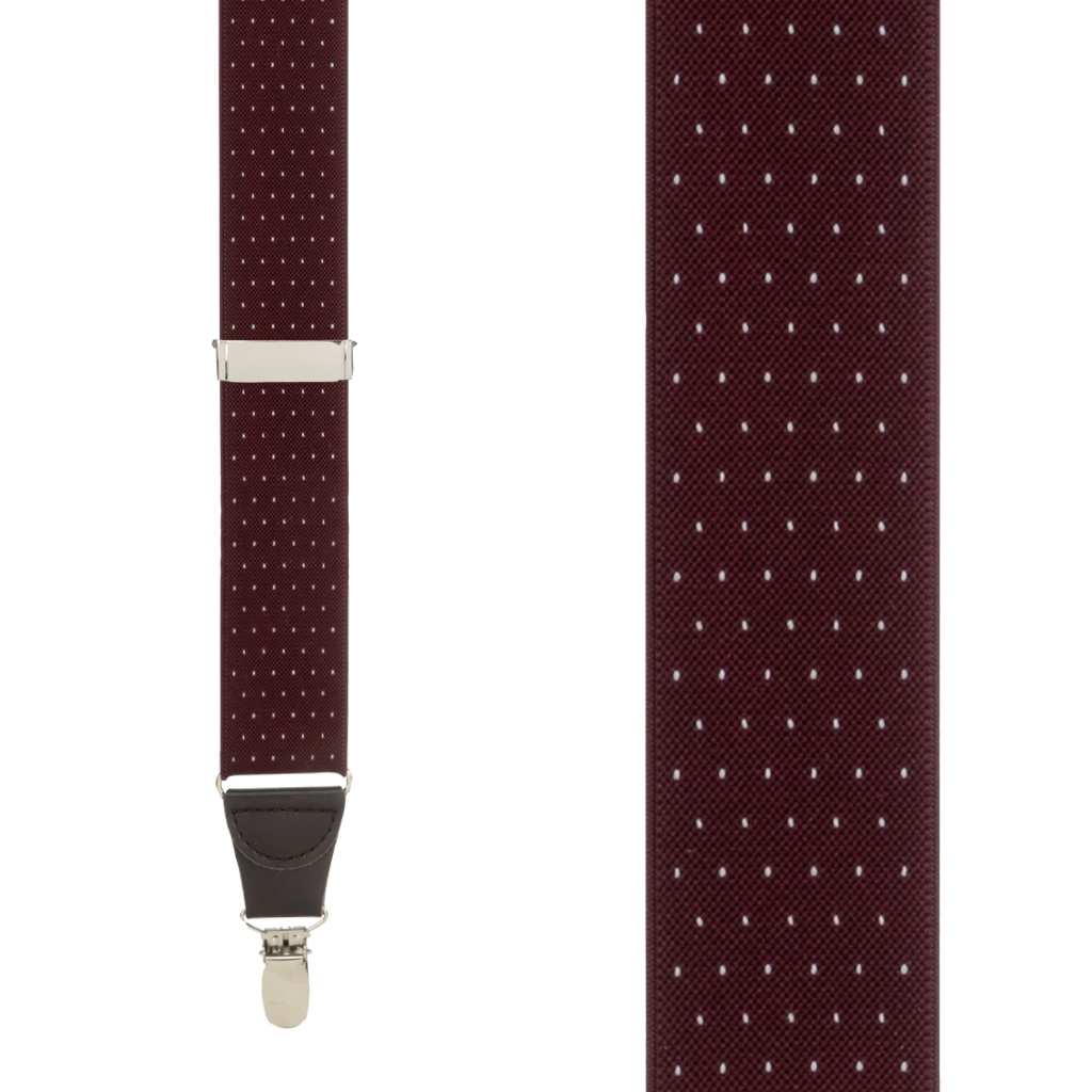 Woven Pin Dot Suspenders in Burgundy - Front View