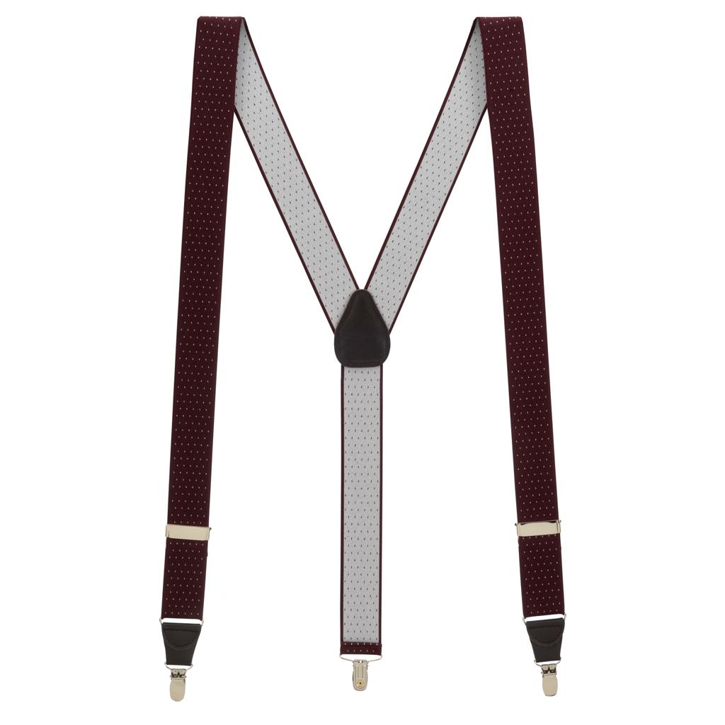 Woven Pin Dot Suspenders in Burgundy - Full View