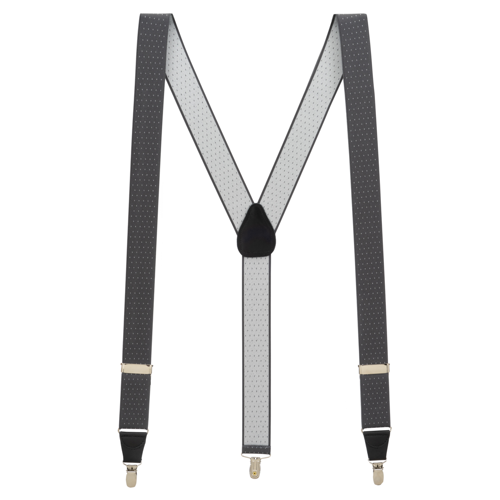 Woven Pin Dot Suspenders in Grey - Full View