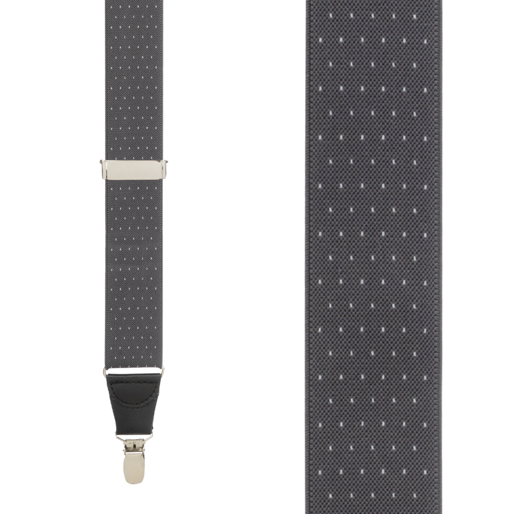 Woven Pin Dot Suspenders in Grey - Front View