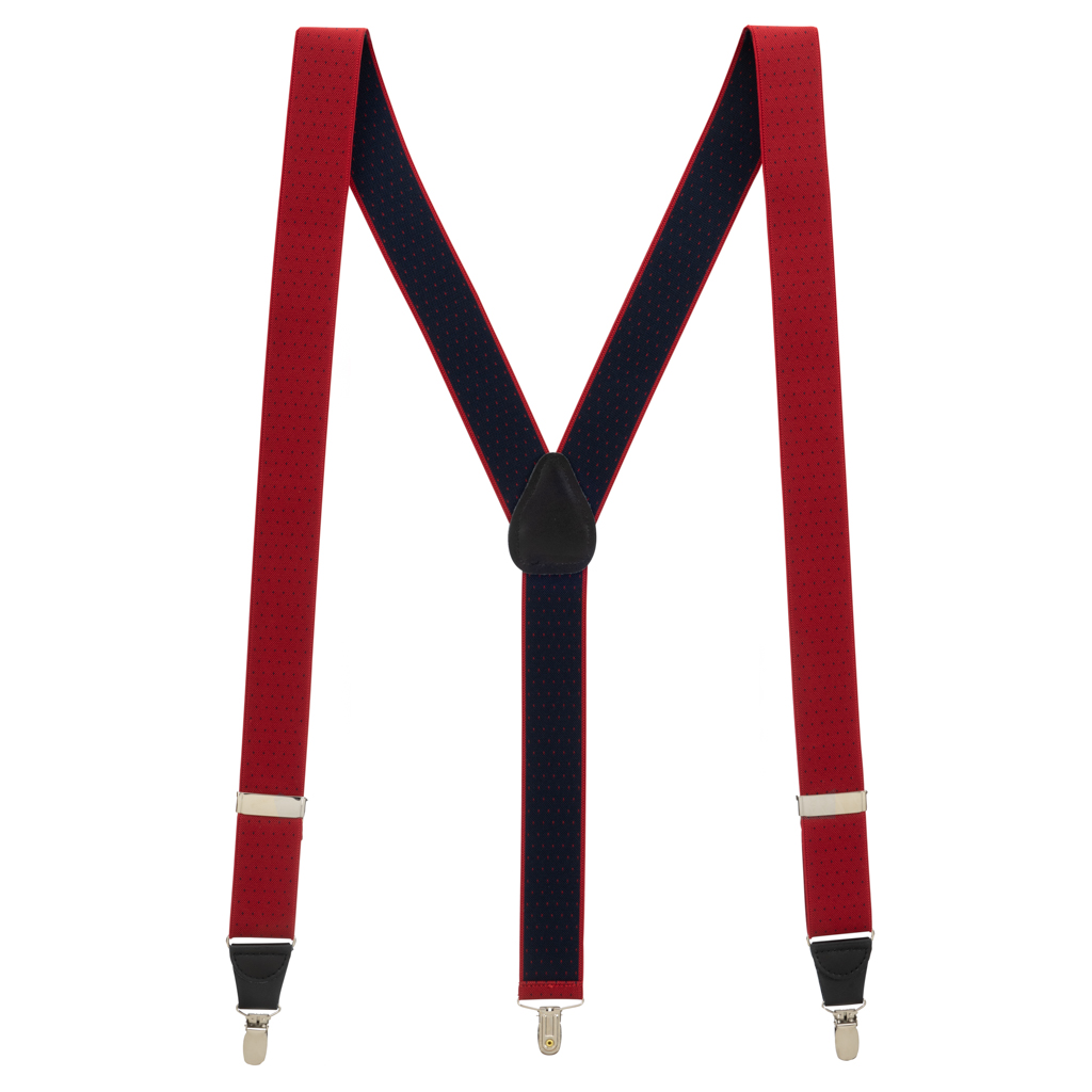 Woven Pin Dot Suspenders in Red - Full View