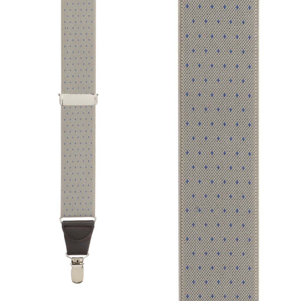 Woven Pin Dot Suspenders in Tan - Front View