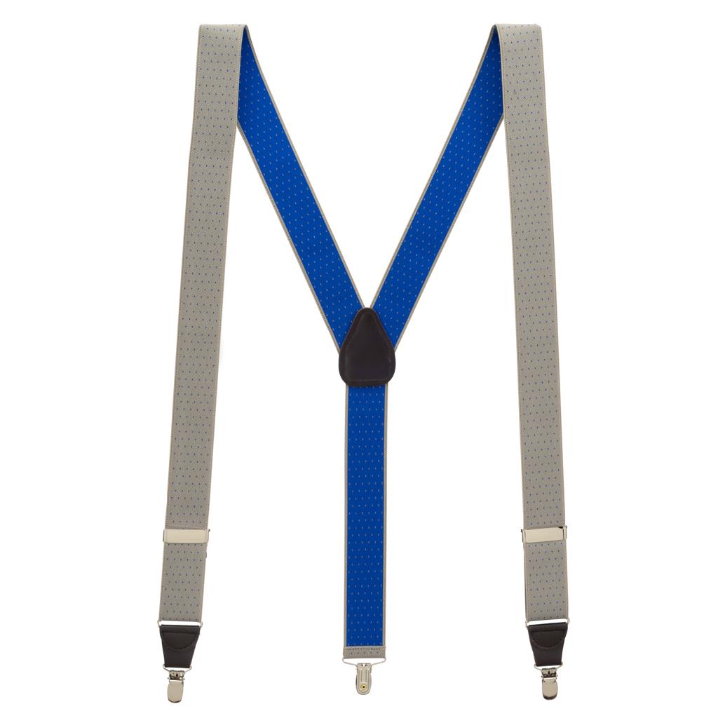 Woven Pin Dot Suspenders in Tan - Full View