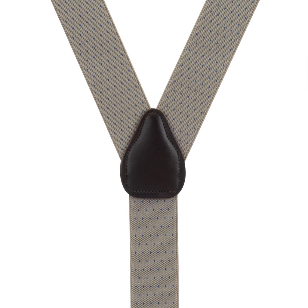 Woven Pin Dot Suspenders in Tan - Rear View