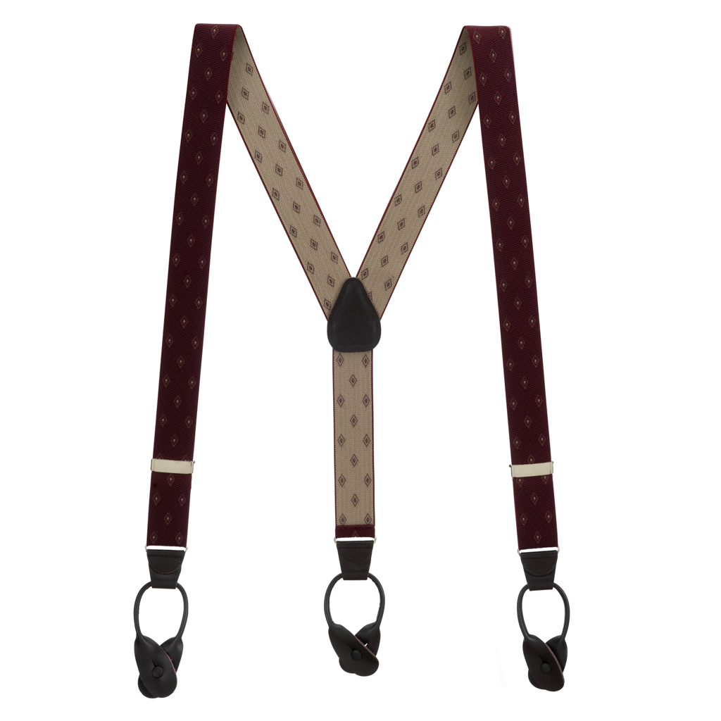 Burgundy Jacquard Woven Diamond Suspenders - Full View