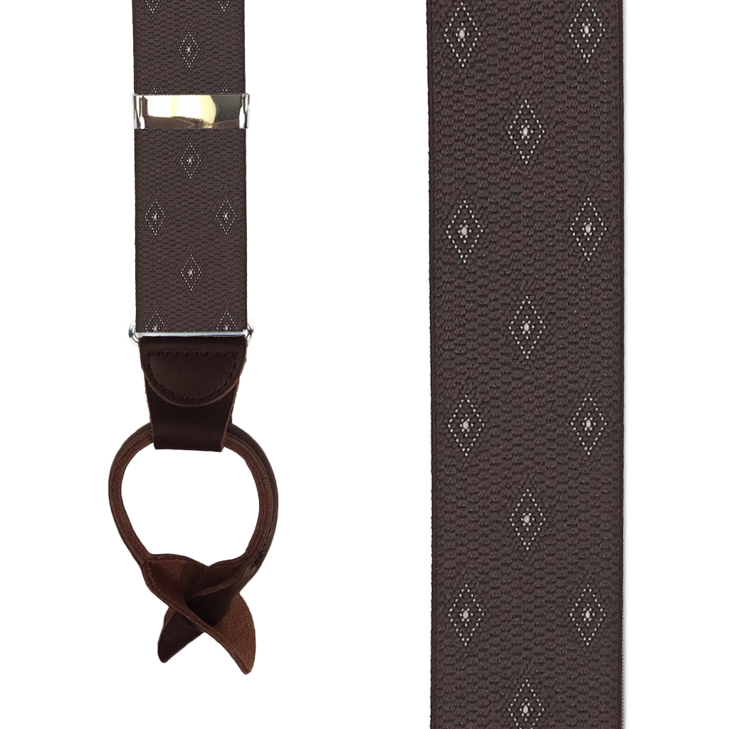 Brown Jacquard Woven Diamond Suspenders - Front View