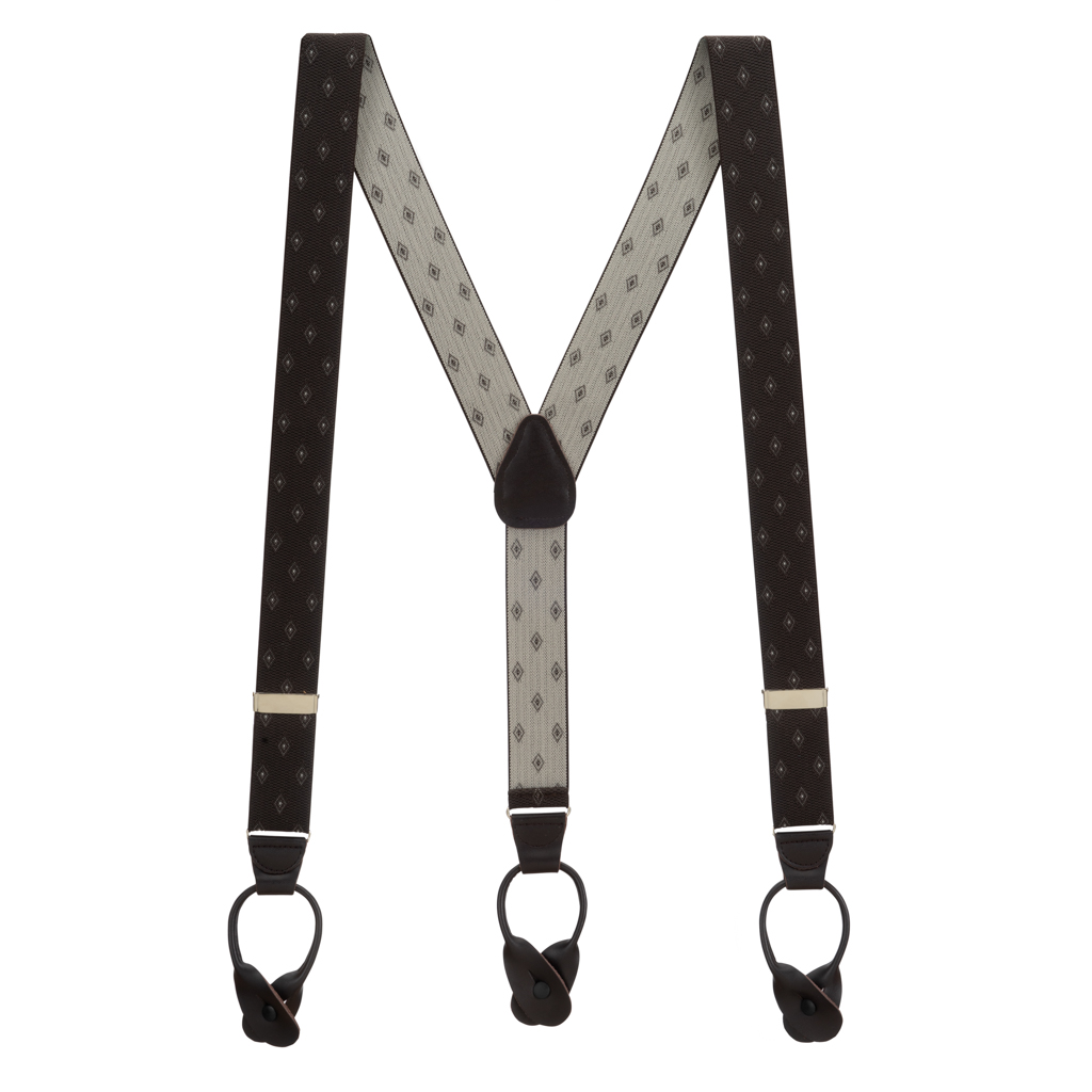 Brown Jacquard Woven Diamond Suspenders - Full View